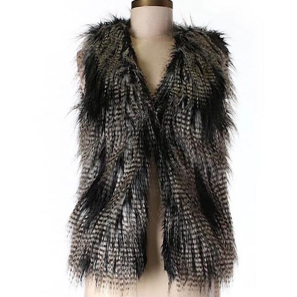 H&M Jackets & Blazers - H&M Divided Shaggy Faux Fur Vest Mixed Color Blend